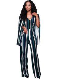 Wholesale Sexy Open Legs - Wholesale- Women Cap Cloak Sleeve Long Jumpsuit Sexy Striped Patchwork Deep V Neck Open Back Wide Leg Playsuits Plus Size Overalls