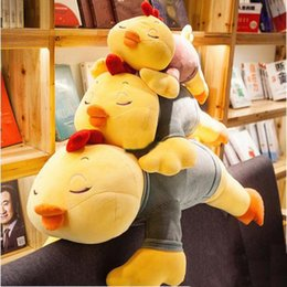 Wholesale Cartoon Baby Chickens - 80cm Lovely Soft Cartoon Lying Chicken Doll 31'' Stuffed Animal Chick Pillow Baby Toy Kids Gift