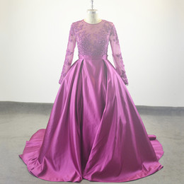 Wholesale Tulle Ballgown Dress - Vestido de festa Real Sample Ballgown Evening Dress Robe De Soiree O-Neck Appliques Beaded Long Evening Party Dresses 2017 prom dresses