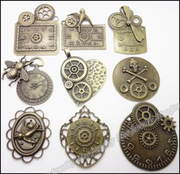 Wholesale Bronze Jewelry Bell Charms - Mix 18pcs Vintage Charms Bell Pendant Antique bronze Fit Bracelets Necklace DIY Metal Jewelry Making