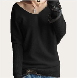 Wholesale Women Loose Plus Size Cashmere - Women's Clothing Sweaters Warm Soft cashmere sweater fashion sexy v-neck sweater loose wool sweater batwing sleeve plus size S-4XL pull