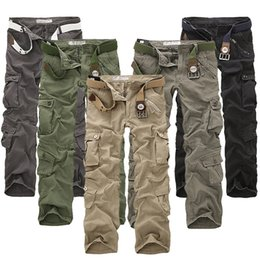 Wholesale Black Gray Camo Pants - 2017 New sell like hot cakes casual multi pocket overalls pants male long trousers plus size pants Cargo Camo Combat Work Pants Trousers