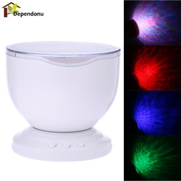 Wholesale Motion Wave - Wholesale- Romantic 7 Colorful LED Projector Light With Speaker USB Rainbow Ocean Wave Projector Light Lamp For Home Desktop