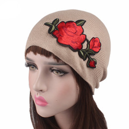 Wholesale Pink Skull Patch - Womens Knit Woolen Yarn Floral Embroidery Patch Casual Outdoor Winter Pure Color Retro Adjustable Hat Y73