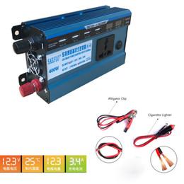Wholesale Inversor 12v - inversor de corriente de 400W DC 12V to 220V AC Car Inverter Outlets with 4.2A 4-Port USB Charger Travel Kit Portable Converter for Laptop
