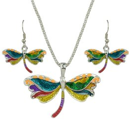 Wholesale Dragonfly Silver - Costume Jewelry Sets Boho Style Gold Silver Chain Colorful Enamel Dragonfly Pendant Necklace and Drop Earrings for Women