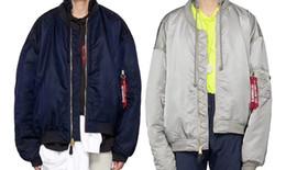 Wholesale Hoodies Men Double Sided - 2018 latest AM1 Ma1 Bomber Jacket Women men Double - sided Wear Vetements oversize Justin Bieber hoodies coat flight Windbreaker jacket XS-L