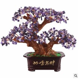 Wholesale Brass Christmas Ornament - Medallion natural yellow crystal violet crystal powder crystal agate turquoise rich tree Creative household ornaments Christmas gifts crafts