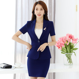 Wholesale Tailor Suit Women - Hot Selling Slim Fit Tailored Collar PolyesterMulticolor Size Short Sleeve Elegant Fashion OL Skirt Suit for Office Ladies Manufacturer