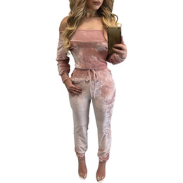 Wholesale Womens Jumpsuits Rompers - Wholesale- Night Club Solid Rompers Womens Jumpsuits 2017 New Design Long Sleeve Velvet Bodysuit Women Tied Waist Casual Winter Tracksuits