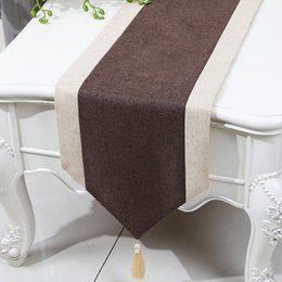 Attractive Plain Patchwork Short Length Table Runner Chinese Style Cotton Linen Modern  Simple Coffee Table Cloth Dining