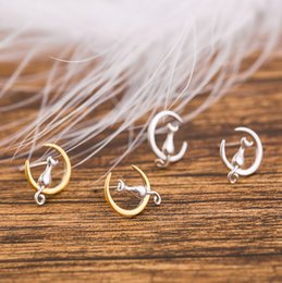 Wholesale Gold Plated Jewelry For Children - 925 Sterling Silver Gold Moon Kitty Cat Gato Stud Earrings For Women Children Girls Kids Animal Earring Jewelry Gift brinco pequeno Aros