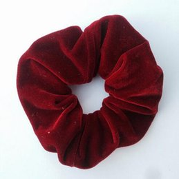 Wholesale Tie Head Bands - 2017 New 11 Colors Women Velvet Hair Scrunchies Elastic Spring Hair Bands Ties Ponytail Holder Hair Accessories Women Girls Head Bands