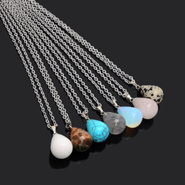 Wholesale Crystal Stainless Steel Collar - Stainless Steel Chain Waterdrop Natural Stone Pendant Necklace Crystal Quartz Healing Tears Collar for Women Jewelry