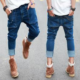 Wholesale Men S Drop Crotch Pants - Wholesale-Summer New Mens Hip Hop Jeans Vintage Washed Pockets Drop Crotch Roll Up Harem Jeans Pencil Pants For Man