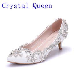Wholesale Kitten Princess - Crystal Queen 5CM Heel Women Shoes Dress Heels White Matte Pu Rhinestone Crystal Wedding Pumps High heels Princess Pointed Toe