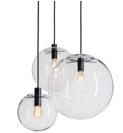Wholesale Pendant Shades - Modern Nordic Lustre Globe Pendant Lights Glass Ball Lamp shade Hanging Lamp E27 Suspension Kitchen Light Fixtures Home Lighting LLFA