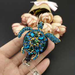 Wholesale Id Badge Holder Rhinestone - 50PCS Lot 55mm Turtle Tortoise ID Badge Holder   Reel Green Rhinestone Crystal Gold Plated Nurse ID Retractable Reel