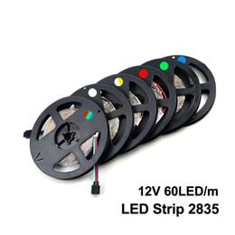 Wholesale Strip Light 12v Indoor - 2017 5M 2835 SMD More Brighter Than 3528 5050 SMD LED Strip light DC 12V 60LEDs M Indoor Decorative Tape White Blue Red