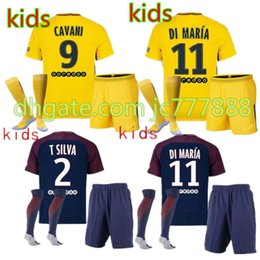 Wholesale Set Boys Shirt White - kids NEYMAR JR 10 CAVANI DI MARIA VERRATTI Shirt Home blue Away 17 18 Soccer Jerseys Custom Football Uniforms Thai Quality Set + socks