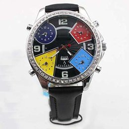 Wholesale Time Diamonds Watches - Fashion luxury Five Time Zone Diamond black Mens Watch Watches mens original bucklet quartz movement leather belt watches