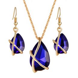 insieme della collana dell'orecchino trasversale Sconti Set per gioielli da sposa di alta qualità croce gocce d'acqua cristalli austriaci orecchini zircone collana di gioielli set regalo ragazza delle donne