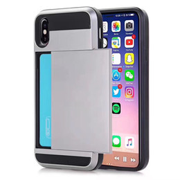 Wholesale Slide Back Case - For iPhone 8 Plus iPhone X Cellphone Case with Slid Card Holder Back Cover Shell Protector Shockproof Armor Case for iPhone7 plus Samsung8