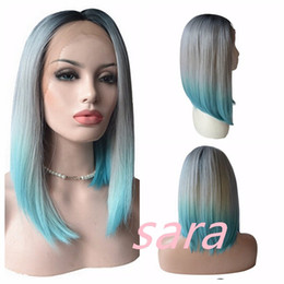 Wholesale Blue Bob Wig - Grey To Dark Green Blue Turquoise Teal Synthetic Lace Front Wig Glueless Ombre Tone Color Short Bob Hair Wigs Heat Resistant
