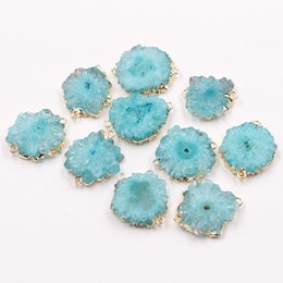 Wholesale Drusy Connectors - Flower Druzy Connectors -- With Electroplated Gold Edge Druzzy Drusy Geode Charms Wholesale Supplies Handmade YHA-022