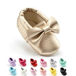 Wholesale Newborn Baby Bow Ties - Soft Sole Moccasin Newborn Babies Tassels Baby shoes soft sole Bow tie baby shoes Indoor Toddler Slip-on First Walker