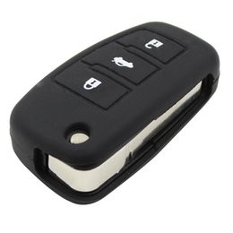 Wholesale Flip Words Free - New 3 Buttons Silicone Car key Cover Silicone Key Bag For Flip Foldig Audi Key Case A3 A4 A5 A6 A8 Q5 A8 TT S6 Free Shipping