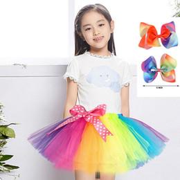 "Wholesale Girls Rainbow Chiffon Dress - Rainbow Princess Girls Dress Tutu High Quality Short Skirt Kids Clothes With Colorful 5"" Hair Bow"