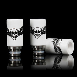 Wholesale Ego Cigarette Skulls - Newest Skull Printed Style Drip Tips 510 Ceramic Wide Bore Drip Tip EGO E Cigarettes Atomizer Mouthpieces for RDA Atomizer DHL Free