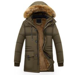 Wholesale Mens Natural Fur Hats - Wholesale- New 2016 Winter Men Jacket Fashion Mens Winter Parka Fur Collar Hooded Thick Warm Men's Coats Long Parkas Homme Plus Size W155