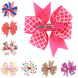 Wholesale Large Boutique Bows - 28 Colors Fashion Baby Ribbon Bow Hairpin Clips Girls Large Bowknot Barrette Kids Hair Boutique Bows Children Hair Accessories GB052