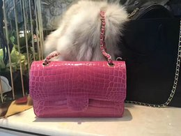 Wholesale Real Crocodile Skin Bags - top quality fashion women top best real crocodile skin super luxury handbag,personalized luxury women handbag size 25cm ,several colour