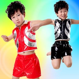 Wholesale Children Hip Hop Costumes - 2017 Hot sell 2color 2pcs Children Modern Jazz Dance Costume Costume Neutral Juvenile Hip-Hop Performance Clothing