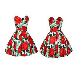 Wholesale Big Gown For Woman - 2017 hot new fashion big flower print strapless summer vintage dresses sexy style sleeveless for mature women