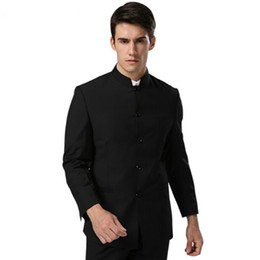Wholesale Mandarin Suits - (Jacket+Pants)Men Formal Business Suits Pants Chinese Tunic Suits Black New Arrival Traditional Mandarin Plus Size