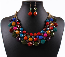Wholesale Gold Costume Jewelry Set - Exquisite Dubai Jewelry Set Luxury Colorful Boho Wedding Imitation Diamonds Beads Necklace Earrings for Women Costume Accessories