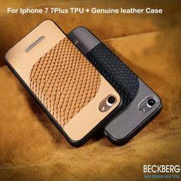 Wholesale Iphone Crocodile Leather Luxury - New Beckberg Rhinestone Case For iPhone 7 fashion Luxury TPU + Crocodile grain Genuine leather Back Cover cases for Apple 7 plus
