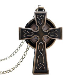 Wholesale Stainless Steel Small Crosses - Wholesale-fashion Cross small pocket watch women men elegant gift pendant watches free shipping P90