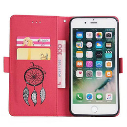 Wholesale Flash Flip - Kickstand Flip Case Money Card Slot Wind Chime Flower Embossing Flash Powder PU Wallet Cover With Lanyard For iPhone 7 6S 6 Plus 5S OPP Bag