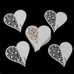 Wholesale Flower Places - Wholesale- 50pcs set Hot Event Party Supplies Love Heart Blank Name Place Table Card Wine Glass Wedding Event Laser Cut Flower Decoupage