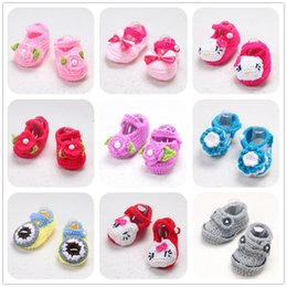 Wholesale Shoes Style Girl Feet - 22 Style Baby girl Toddler shoes Crochet Handmade Woolen Crochet Knit soft bottom Winter, spring, autumn kids shoes foot 12CM