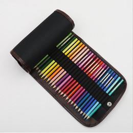 Wholesale Canvas Bags Colour - Multi Function Canvas Volume Pencil Bag Sketch Colour Pen Curtain 36 Holes bags Art Supplies No Pencils 5 5sh J R