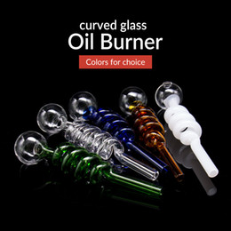 Wholesale Wholesale Straight Tube Glass - 2017 new cheap Colorful Great pyrex oil burner pipe Clear Glass Oil Burners Tube Glass Pipes Oil Nail smoking Pipe