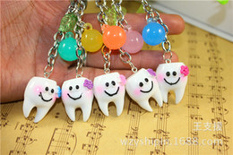 Wholesale Tooth Lover Couple Key Chain - 2017 latest simulation creative happy teeth couple key chain Korean cute smiley key ring gift