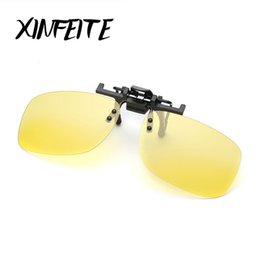 Wholesale- XINFEITE 2017 Brand Vintage Fashion Polarized Clip On Sunglasses For Men Oculos Eyewear Male Night Vision Driving Sun Glasses от Поставщики поляризованные ночные зажимные очки для очков