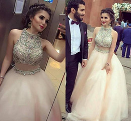 Wholesale Rhinestone Colorful Evening Dresses - Fasle Two Pieces 2017 Colorful Crystal Rhinestones Prom Dresses High Neck A Line Organza Evening Dresses Ball Gown Quinceanera Dress
